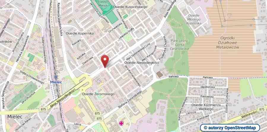 lokalizacja oferty 00710 LOKUM Nieruchomości Mielec na mapach OpenStreetMap